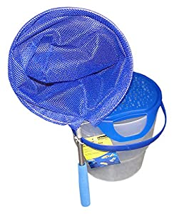 Idena 40081-Cubo de Pesca con asa, telescópica, Color Azul