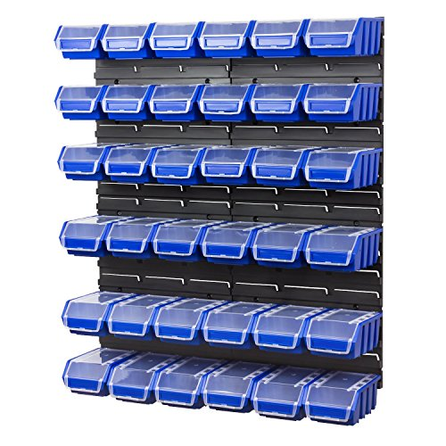 40 teiliges Werkstattwand Lagerregal inkl. Stapelboxen blau Wandplatten Ergobox Plus Deckel Gr. 2