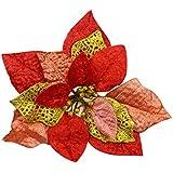 3 piezas bestdeal 20,32 cm brillantina flores guirnaldas de Navidad Artificial Árbol de Navidad decoración tibertano, rosso