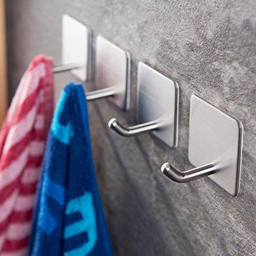 Handtuchhaken ohne Bohren Wandhaken 4 Stk Klebehaken Edelstahl für Küche und Bad, von Ruicer ()