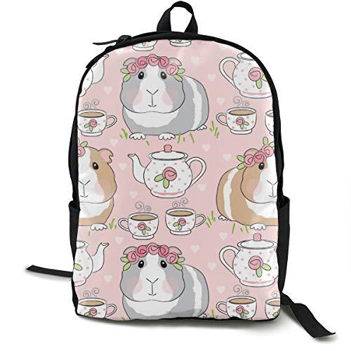Guinea-Pig-Tea-Party Adult Premium Travel Backpack, Water-Resistant College School Bookbag, Sport Daypack, Outdoor Rucksack, Laptop Bag for Men&Women