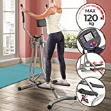 Physionics® Cross-Trainer with LCD Display - Heart Rate Sensor and Abdominal Support, made of Steel - Air Walker, Elliptical Trainer, Nordic, Cardio, Weightloss, Workout Machine