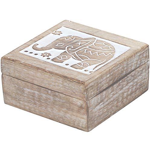 Orientalische kleine Aufbewahrungsbox mit Deckel Awa 17cm groß | Orientalischer Schmuckkästchen für Mädchen und Damen zur Schmuckaufbewahrung | Marokkanische Schatulle Box aus Holz -