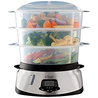 Russell Hobbs 3 Tier Digital Steamer 23560, 9 L - Stainless Steel and Silver