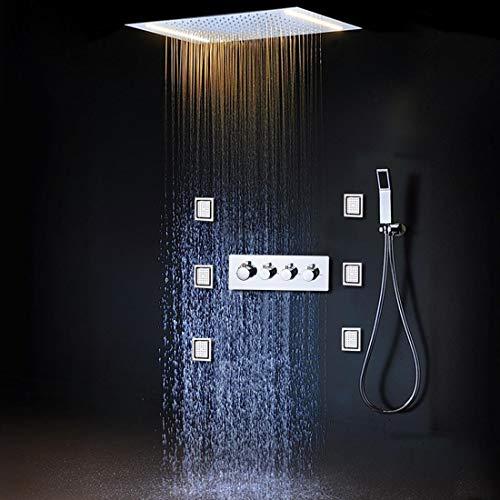GFF LED Regenduschenset mit 2 Leuchten mit Handbrause Körper Jet Massage Thermostatmischer Baddecke