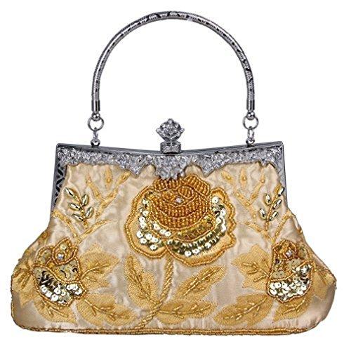 Adoo Vintage Seme Di Perline Rose Borsa Da Sera Pochette Da Sera Oro