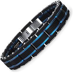 COOLMAN Bijoux Hommes Bracelets Acier Inoxydable Bleu & Noir Réglable 19-20,5 cm (avec Boîte-Cadeau Marque)