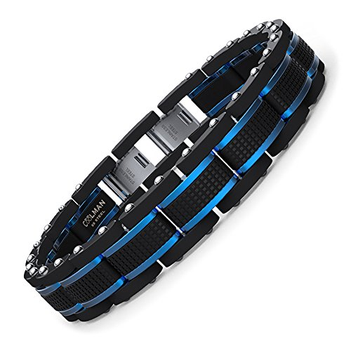 COOLMAN Schmuck Herren Armbänder Edelstahl Blaue Schwarze justierbare 21.5-23 cm für Männer (mit Marken-Geschenk-Kasten) -
