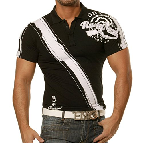 Rusty Neal Herren Kurzarm 2in1 Polo T-Shirt Slim Fit Poloshirt Hemd Weiß/Sch.437 Schwarz