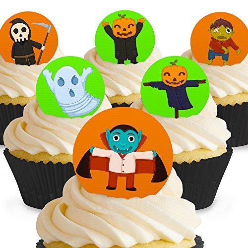 Cakeshop 12 x Vorgeschnittene und Essbare Gruselige Monster Halloween Kuchen Topper (Tortenaufleger, Bedruckte Oblaten, Oblatenaufleger) (Halloween Kuchen Topper Essbare)