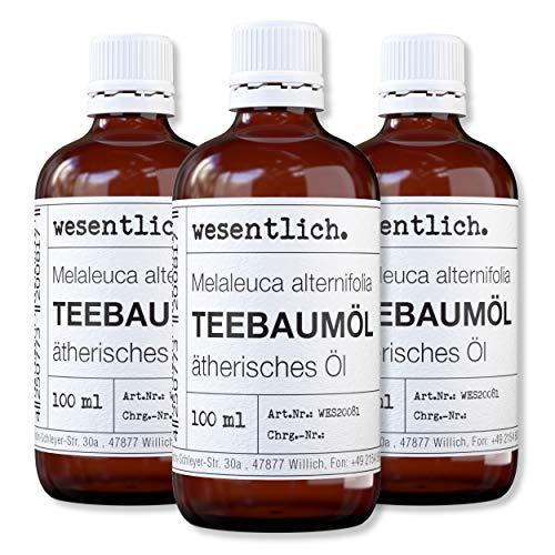 wesentlich. Teebaumöl - ätherisches Öl - 100% naturrein (Glasflasche) - u.a. für Duftlampe und Diffuser (3x100ml)