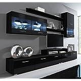 Muebles Bonitos –Mueble de salón Claudia negro mod. 9(2,5m)