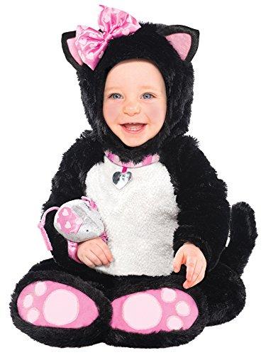 Katze Kostüm mit Maus Rassel für Baby - Schwarz Rosa - 6 bis 12 (Kind Rosa Katze Kostüm)