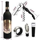 Yobansa Weinflasche geformt Weinzubehör Geschenkset, Weinöffner Set Beinhaltet Weinkorkenzieher, Weinverschlüsse, Weinausgießer (Bottle 02) - 2
