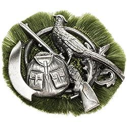 Pico-joyería para hombre-broche caza insignia faisán con pistola + mochila espacio para escritura para propia etiqueta plata cepillado - 011042S/V178