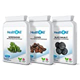 Health4All Wormwood, Black Walnut, Cloves Digestive Health Set 3x90 Capsules | 100% VEGAN | Free UK Delivery
