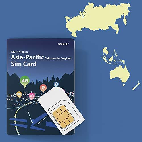 GMYLE Thailand, Hongkong, Taiwan, Vietnam, Russland, Australien etc. 14 Länder Prepaid-SIM-Karte, 5 GB / 14 Tage, Asia Pacific 4G LTE / 3G Internetdaten, jederzeit und überall Aufladen (nur Daten) (Cdma-hotspot)