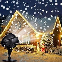Idea Regalo - Proiettore Luci Natale - Proiettore di Luci LED Natale Effetto Neve Multi Modi, Impermeabile IP44 Proiettore Natale da Esterno, Proiettore Bassa Tensione Disegno Sicuro, Per Natale Festa Spettacolo