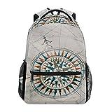 COOSUN Alte Weinlese-Seekarte und Kompass beiläufiger Rucksack-Schule-Beutel-Spielraum Daypack Mehrfarbig