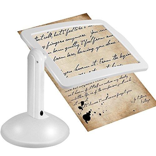 KUNSE Handsfree 3X lesen ganzseitige Lupe 2led Lupe Loupe Gläser Schreibtisch-Lampe Light Magnifier -