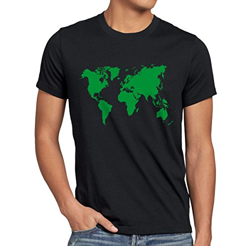 style3 Sheldon World Map Herren T-Shirt Weltkarte, Größe:S;Farbe:Schwarz