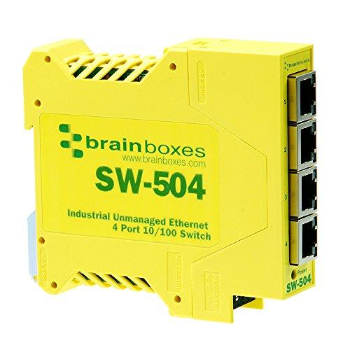 Brainboxes SW-504 switch No administrado Fast Ethernet (10/100) Amarillo - Switc...