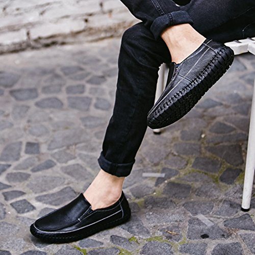 Minitoo Boys Mens Stitched Solid Casual Spring Loafers Black