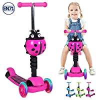 Birtech Scooter for Kids, 3-in-1 Folding Kids Scooter Kick Scooter 3 Wheels Scooter with Removable & Adjustable Seat, Lightweight LED Light up Wheels for Boys Girls Age 2-8, Support 60kg