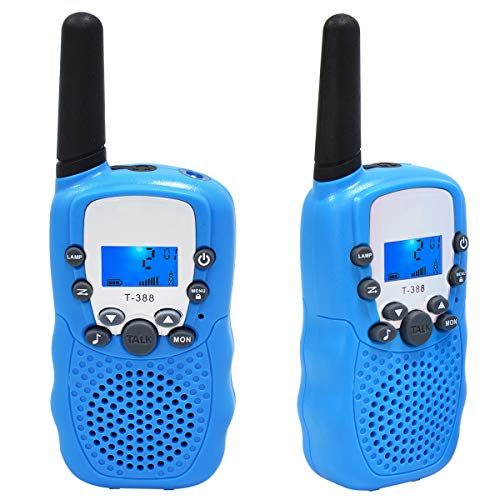 Moglor Walkie Talkie Ni/ños,3 Pack Walky Talky Ni/ños 22 Canales LCD Pantalla VOX Larga Distancia 3KM Linterna Incorporado Juguete Regalo para Ni/ños