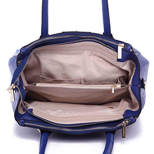 LeahWard® Damen Tragetaschen Damen Mode Essener Berühmtheit Vorhängeschloss Schulter Handtasche Qualität Kunstleder mit Gurt CWS00195A CWS00408 CWRM0041 CWS00195A Marine
