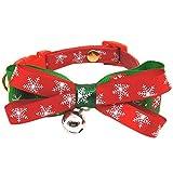 createjia Hundehalsband mit weihnachtlicher Fliege, verstellbar, für Hunde und Katzen, Urlaub, Party, Rot mit schönem Glöckchen