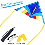 EMMAKITES Super Easy to Fly Kite - Miss Sora Rainbow Delta Kite 1.5Meter Cute Joyful - RTF Kit with Double Kite Tails & 100M Kite String - Nice Craft Great for Beginners Kids Adults