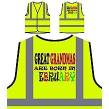 Las abuelitas nacen en febrero divertido Chaqueta de seguridad amarillo personalizado de alta visibilidad w84v