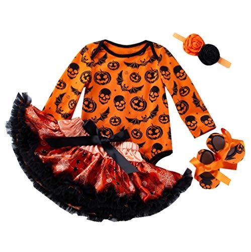 LvRao Neugeborene Baby Mädchen Bekleidungsset Outfits 1. 2. Kürbis Halloween Kostüm Strampler Body mit Tütü Röck Stirnband Beinwärmer Socken - Kürbis #4, 59 (0-3M) (3 Pair Mädchen Kostüm)