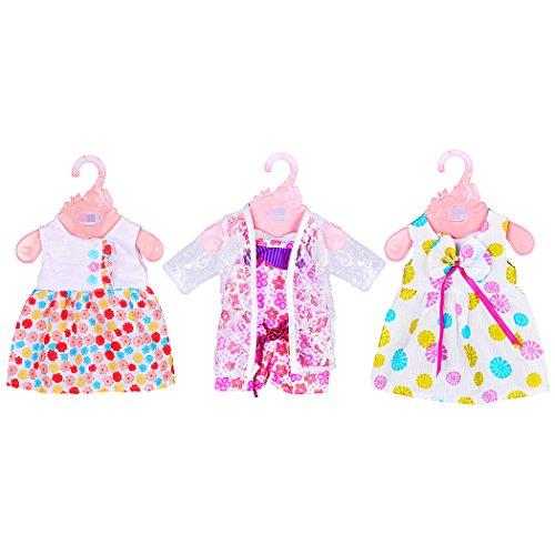 ebuddy 3 Sätze Modepuppen Puppen Bekleidung Kleid Badeanzug für 17inch/43CM Hoch Geboren Baby Puppen