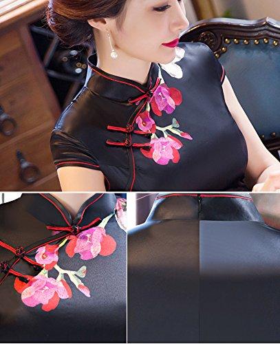 Luck Femme Robe Longue Chinoise Traditionnelle Cheongsam Elégante Motif Fleur Polyester Noir Noir