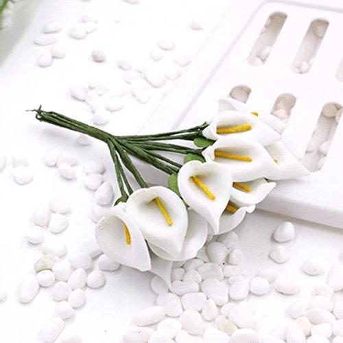 144 Stück/Bouquet Mini-Kunstblumen Calla-Lilie für Hochzeiten, Blumensträuße Zuhause, Hotel, Gartendekoration, weiß, Flower diameter: 1.5cm