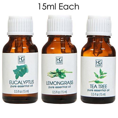 Juego de 3terapéutico de la Hosley grado 100% Pure aceites esenciales–15ml–Eucalipto, Citronela,...