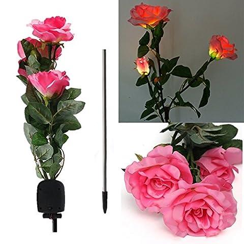 Bluelover 1 x Solar Power 3 LED Rose Flower Light Outdoor Garden Yard Lawn Décor-Pink