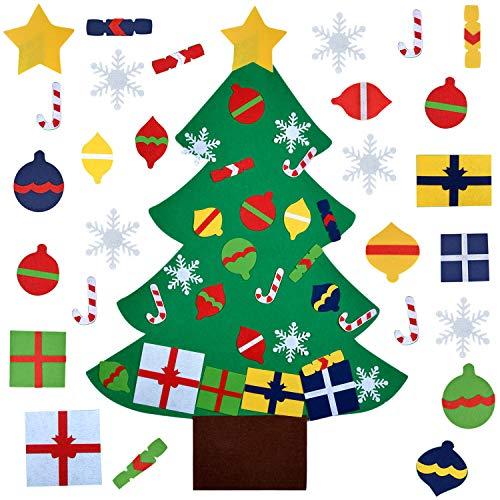 Fanspack Filz Weihnachtsbaum, DIY Weihnachtsbaum 3.2ft DIY Weihnachten Set mit 28 Pcs Ornamenten Deko Weihnachtsspiel Kinder Pädagogisches Spielzeug Wand Dekor mit Hängenden Seil St Patricks Day (St Patricks Dekor Day)