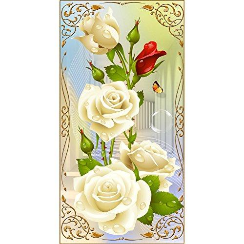 Preisvergleich Produktbild Wingogo weiße Rose DIY Diamant-Anstrich 5D Näharbeit-Diamant-Stickerei-Blumen-Vertikaldruck-runde Bohrgerät-Ausgangsdekor