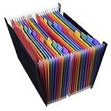 A4Fächermappe Ordner, Rainbow Farbe Akkordeon Dokument Veranstalter tragbar groß Platz Business Rechnungen Buchstaben Lagerung Organizer Halterung für Büro, Zuhause, Reisen 24-Pockets File Holder