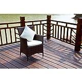 OUTFLEXX 2er-Set Sessel aus hochwertigem Polyrattan, braun marmoriert, ca. 60x60,5x86,5 cm, inkl. weichen Kissen/Polster, Gartenstühle in modernem Design, zeitlos, vielseitig kombinierbar, wetterfest