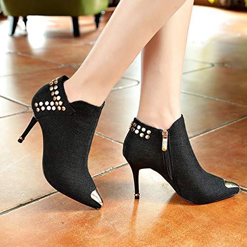 UFACE Frauen Warm Stiefel Spitzschuh Niet Stiefel High Heel Ankle Boots