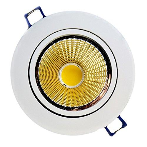 Kit de 10 spots COB LED encastrables avec réflecteur réglable en acier, 5 W équivalant à 50 W, lumière blanche chaude (2900-3200 K), LED de dernière génération longue durée, ultra-lumineux, avec driver LED Futur Print®