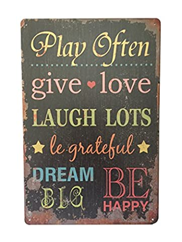 Play often give love... metal wall plaque quote sign 20x30 cm