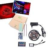 BIHRTC IP22 Nicht-wasserfest Rot 5630 SMD 5M/16.4ft 300 LED Streifen Stripe Licht Lichtband Lichtstreifen Set Kit mit Fernbedienung 24 Tasten und 12V 3A CE-Zertifizierung Netzteil