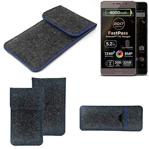 K-S-Trade® Filz Schutz Hülle Für -Allview P9 Energy Lite (2017)- Schutzhülle Filztasche Pouch Tasche Case Sleeve Handyhülle Filzhülle Dunkelgrau, Blauer Rand Rand