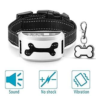 UKTUNU Collier de dressage de chien rechargeable pour collier de chien anti-cloche avec fonction de vibration sonore pour chiens de tous âges