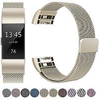 HUMENN Fitbit Charge 2 Armband, Charge 2 Luxus Milanese Edelstahl Handgelenk Ersatzband Armbänder mit Starkem Magnetverschluss für Fitbit Charge2 Klein Groß